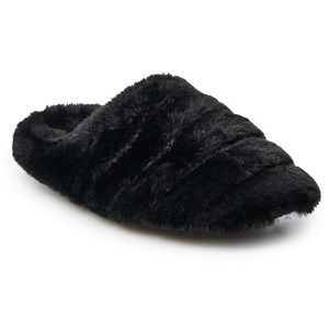 SO Juniors Quilted Faux Fur Black slippers